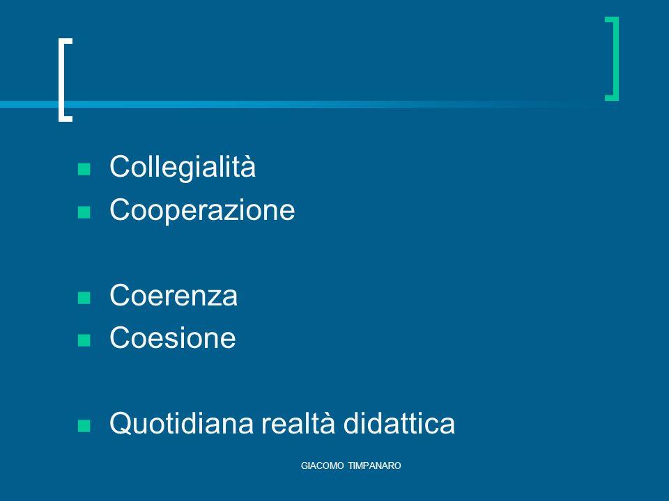 GIACOMO TIMPANARO Collegialità Cooperazione Coerenza Coesione Quotidiana realtà didattica