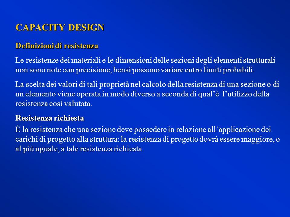 CAPACITY DESIGN Definizioni di resistenza Le resistenze dei materiali e le dimensioni delle sezioni degli elementi strutturali non sono note con preci