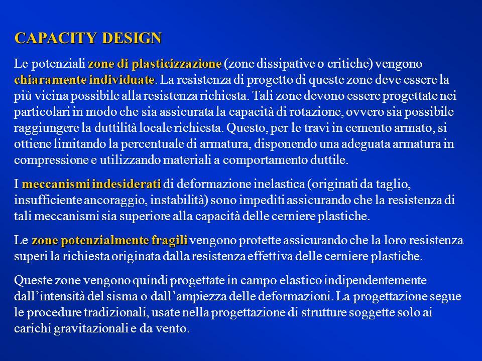 CAPACITY DESIGN zone di plasticizzazione chiaramente individuate Le potenziali zone di plasticizzazione (zone dissipative o critiche) vengono chiarame