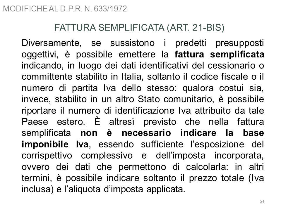 MODIFICHE AL D.P.R. N. 633/1972 24 FATTURA SEMPLIFICATA (ART. 21-BIS) Diversamente, se sussistono i predetti presupposti oggettivi, è possibile emette