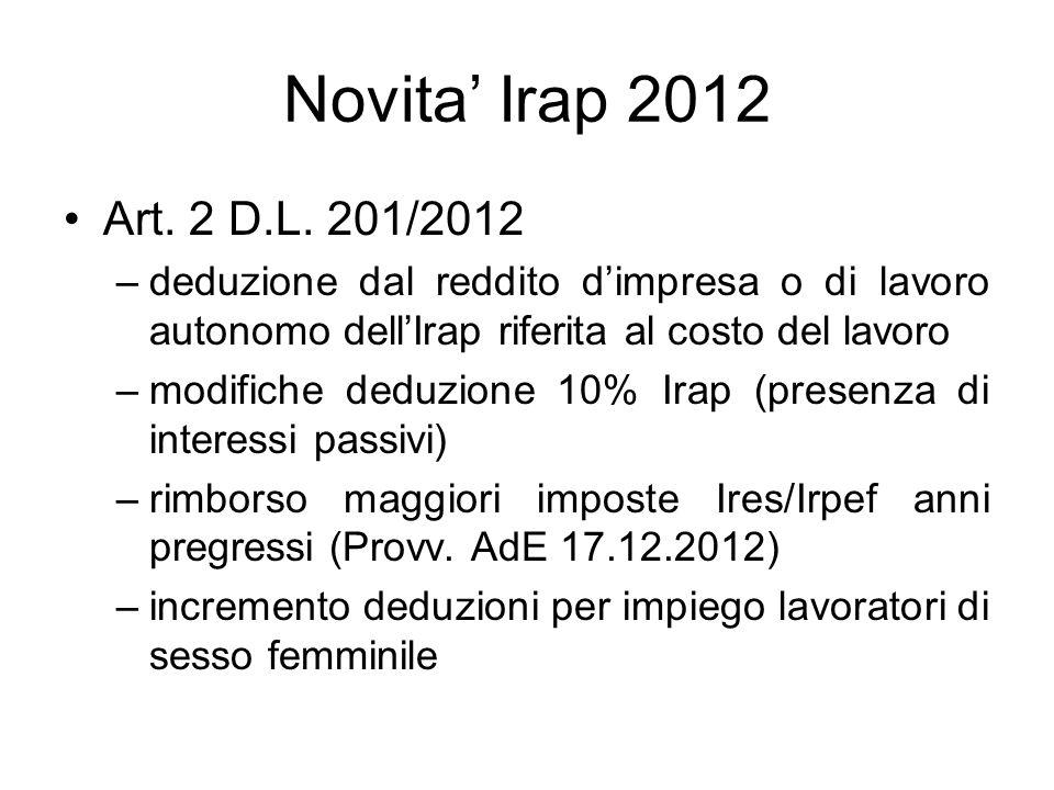Novita Irap 2012 Art. 2 D.L. 201/2012 –deduzione dal reddito dimpresa o di lavoro autonomo dellIrap riferita al costo del lavoro –modifiche deduzione