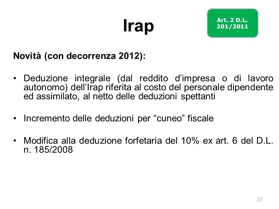Irap Novità (con decorrenza 2012): Deduzione integrale (dal reddito dimpresa o di lavoro autonomo) dellIrap riferita al costo del personale dipendente