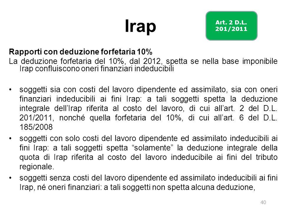 Irap Rapporti con deduzione forfetaria 10% La deduzione forfetaria del 10%, dal 2012, spetta se nella base imponibile Irap confluiscono oneri finanzia