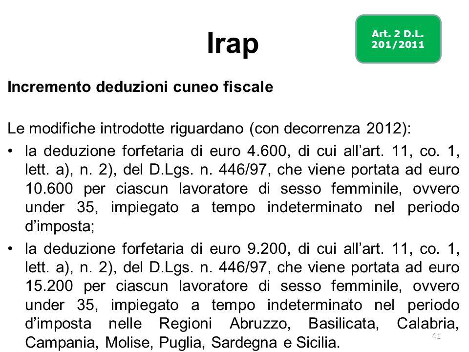 Irap Incremento deduzioni cuneo fiscale Le modifiche introdotte riguardano (con decorrenza 2012): la deduzione forfetaria di euro 4.600, di cui allart