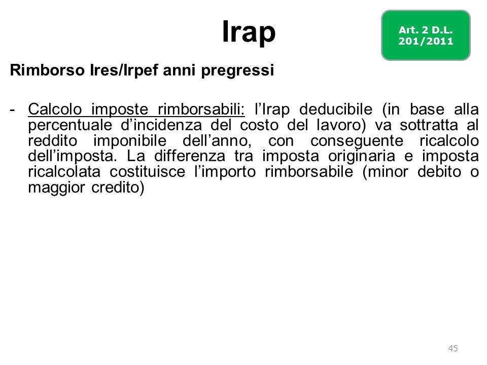 Irap Rimborso Ires/Irpef anni pregressi -Calcolo imposte rimborsabili: lIrap deducibile (in base alla percentuale dincidenza del costo del lavoro) va