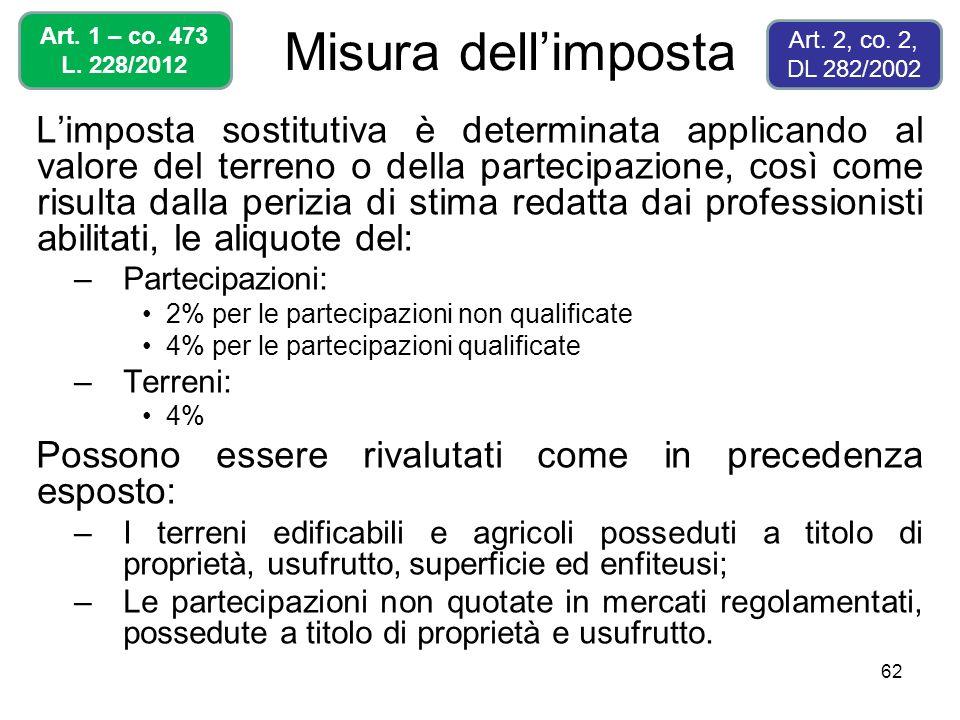 62 Misura dellimposta Limposta sostitutiva è determinata applicando al valore del terreno o della partecipazione, così come risulta dalla perizia di s