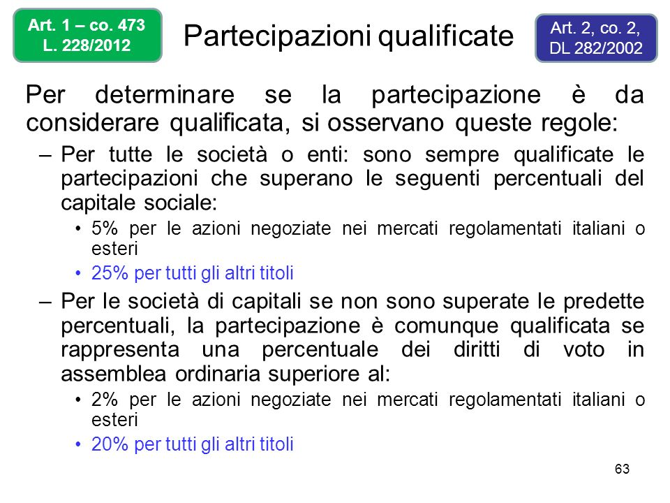 63 Partecipazioni qualificate Per determinare se la partecipazione è da considerare qualificata, si osservano queste regole: –Per tutte le società o e
