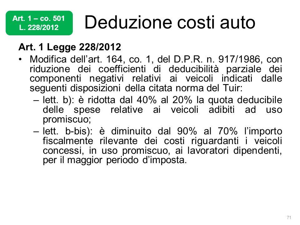 Deduzione costi auto Art. 1 Legge 228/2012 Modifica dellart. 164, co. 1, del D.P.R. n. 917/1986, con riduzione dei coefficienti di deducibilità parzia