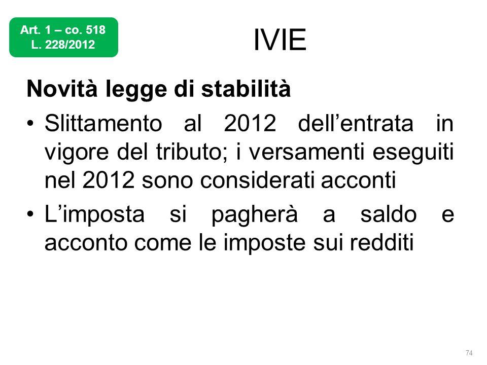 IVIE Novità legge di stabilità Slittamento al 2012 dellentrata in vigore del tributo; i versamenti eseguiti nel 2012 sono considerati acconti Limposta