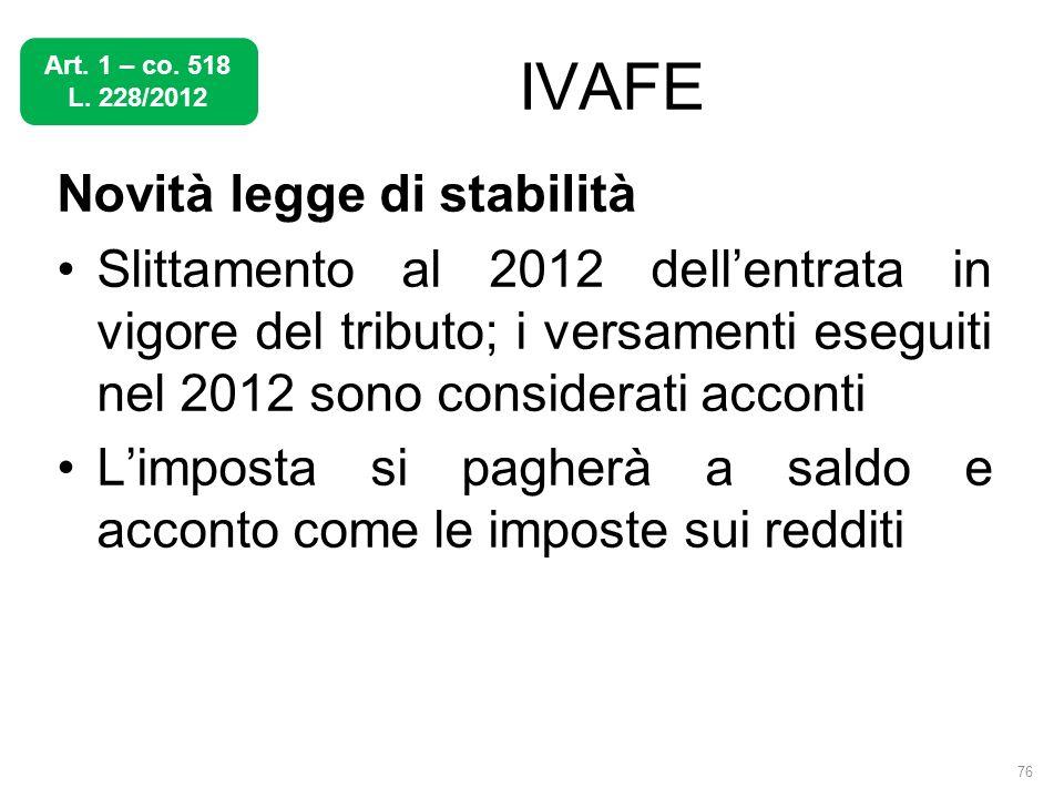 IVAFE Novità legge di stabilità Slittamento al 2012 dellentrata in vigore del tributo; i versamenti eseguiti nel 2012 sono considerati acconti Limpost
