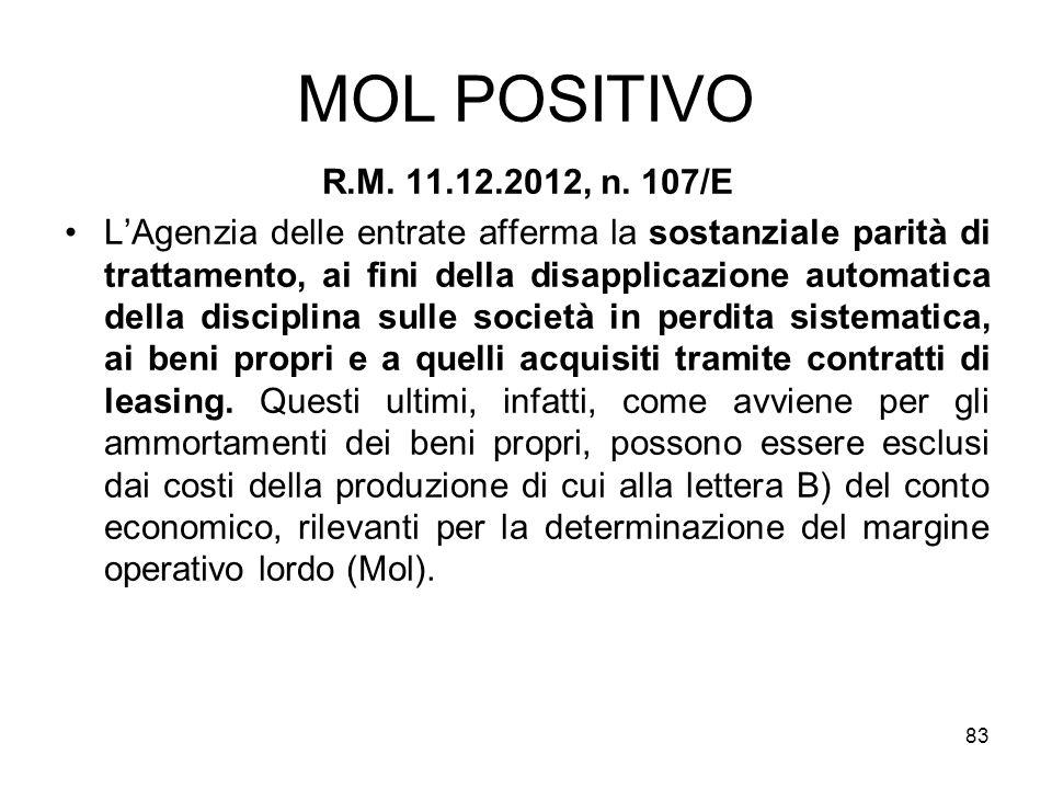 MOL POSITIVO R.M. 11.12.2012, n. 107/E LAgenzia delle entrate afferma la sostanziale parità di trattamento, ai fini della disapplicazione automatica d