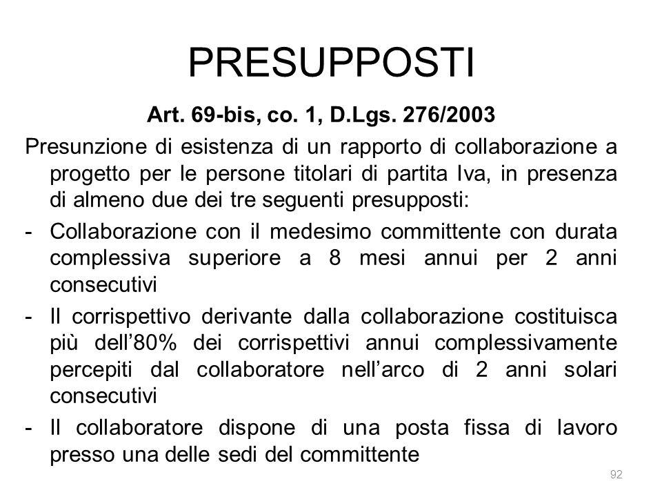 PRESUPPOSTI 92 Art. 69-bis, co. 1, D.Lgs. 276/2003 Presunzione di esistenza di un rapporto di collaborazione a progetto per le persone titolari di par