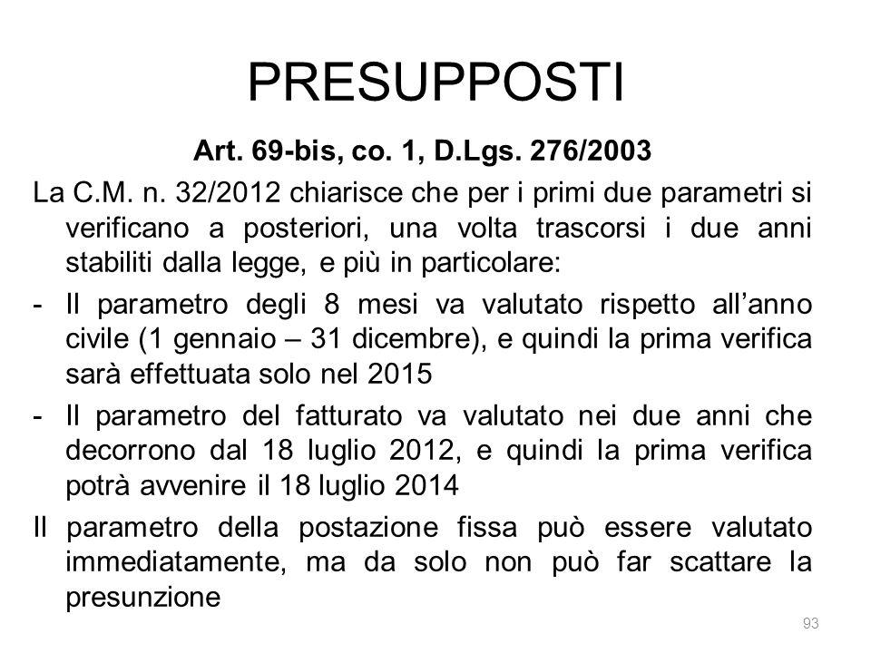 PRESUPPOSTI 93 Art. 69-bis, co. 1, D.Lgs. 276/2003 La C.M. n. 32/2012 chiarisce che per i primi due parametri si verificano a posteriori, una volta tr