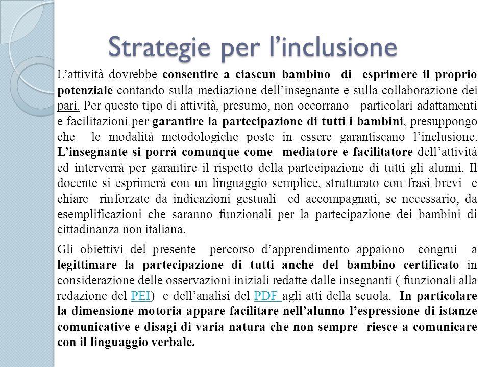 Strategie per linclusione Lattività dovrebbe consentire a ciascun bambino di esprimere il proprio potenziale contando sulla mediazione dellinsegnante