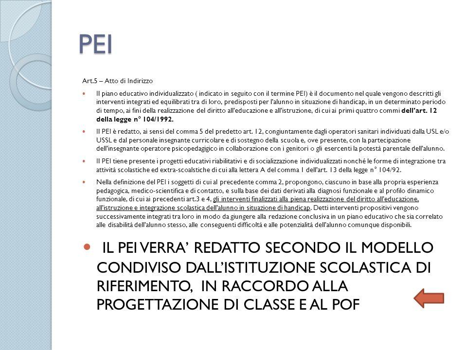PEI Art.5 – Atto di Indirizzo Il piano educativo individualizzato ( indicato in seguito con il termine PEI) è il documento nel quale vengono descritti