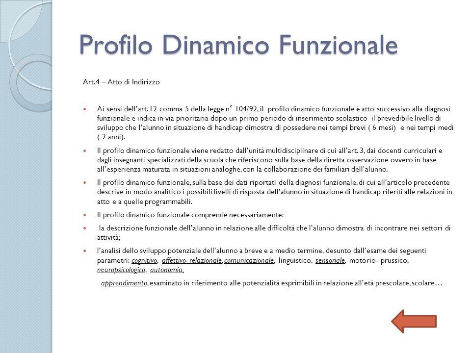 Profilo Dinamico Funzionale Art.4 – Atto di Indirizzo Ai sensi dellart. 12 comma 5 della legge n° 104/92, il profilo dinamico funzionale è atto succes