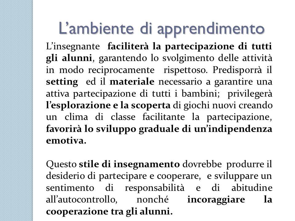 Lambiente di apprendimento Linsegnante faciliterà la partecipazione di tutti gli alunni, garantendo lo svolgimento delle attività in modo reciprocamen