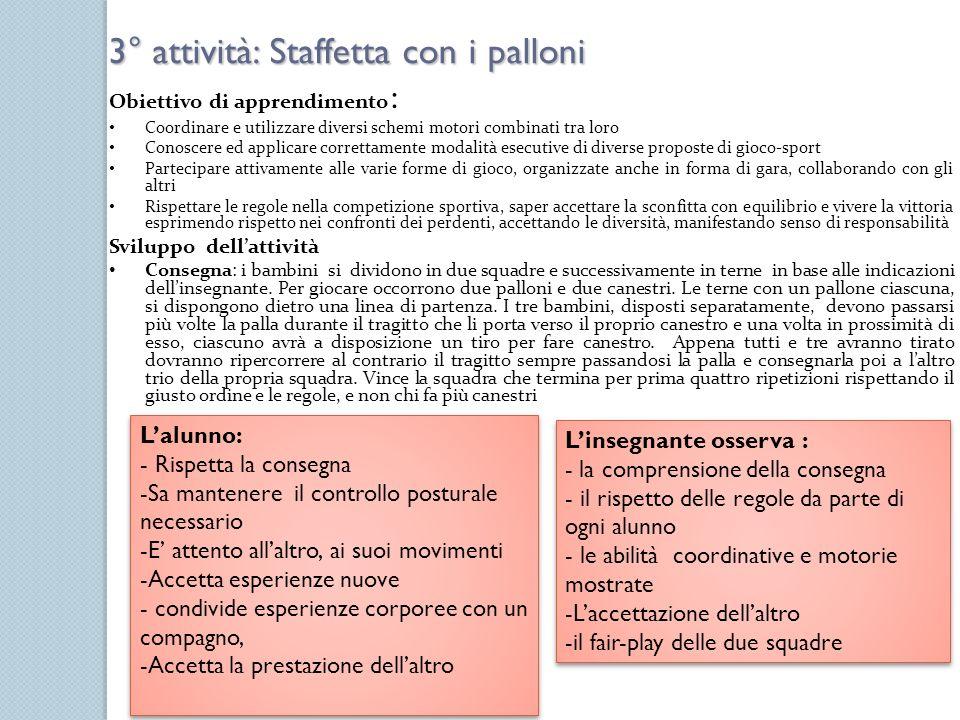 3° attività: Staffetta con i palloni Obiettivo di apprendimento : Coordinare e utilizzare diversi schemi motori combinati tra loro Conoscere ed applic