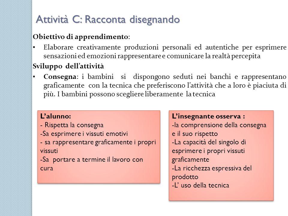 Obiettivo di apprendimento: Elaborare creativamente produzioni personali ed autentiche per esprimere sensazioni ed emozioni rappresentare e comunicare