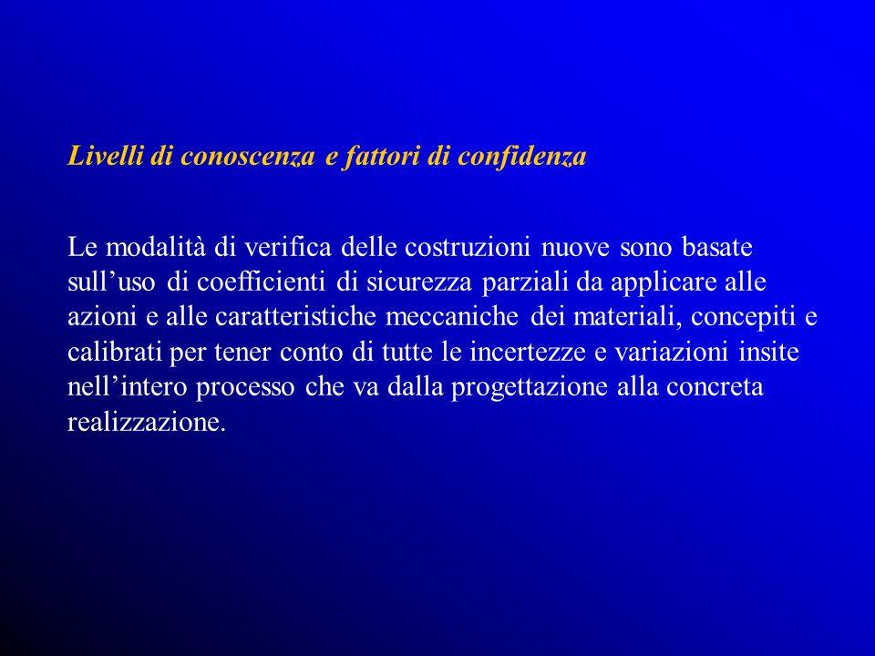 Livelli di conoscenza e fattori di confidenza Le modalità di verifica delle costruzioni nuove sono basate sulluso di coefficienti di sicurezza parzial