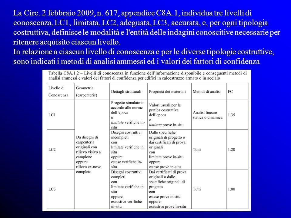 La Circ. 2 febbraio 2009, n. 617, appendice C8A.1, individua tre livelli di conoscenza, LC1, limitata, LC2, adeguata, LC3, accurata, e, per ogni tipol