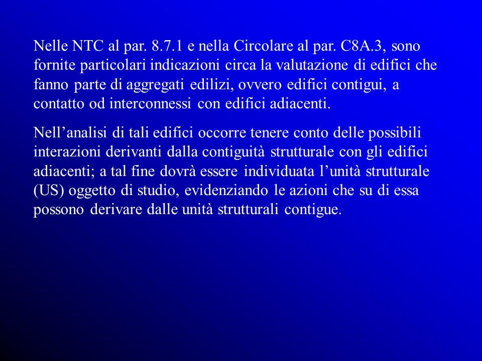 Nelle NTC al par. 8.7.1 e nella Circolare al par. C8A.3, sono fornite particolari indicazioni circa la valutazione di edifici che fanno parte di aggre