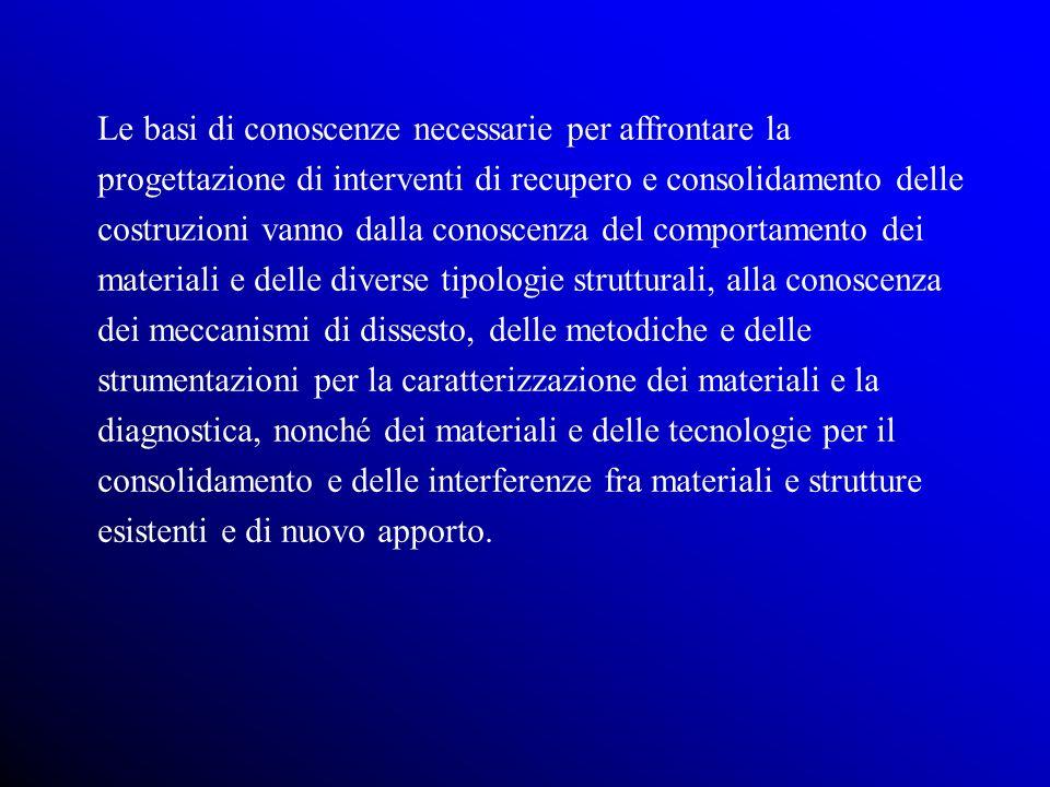Le fasi della progettazione strutturale delle costruzioni esistenti CARATTERIZZAZIONE MODELLAZIONE IDENTIFICAZIONEESIGENZE MARGINE DI SICUREZZA ATTUALE PROGETTAZIONE DEGLI INTERVENTI DI RECUPERO E CONSOLIDAMENTO MARGINE DI SICUREZZA CONSEGUITO CARATTERIZZAZIONE