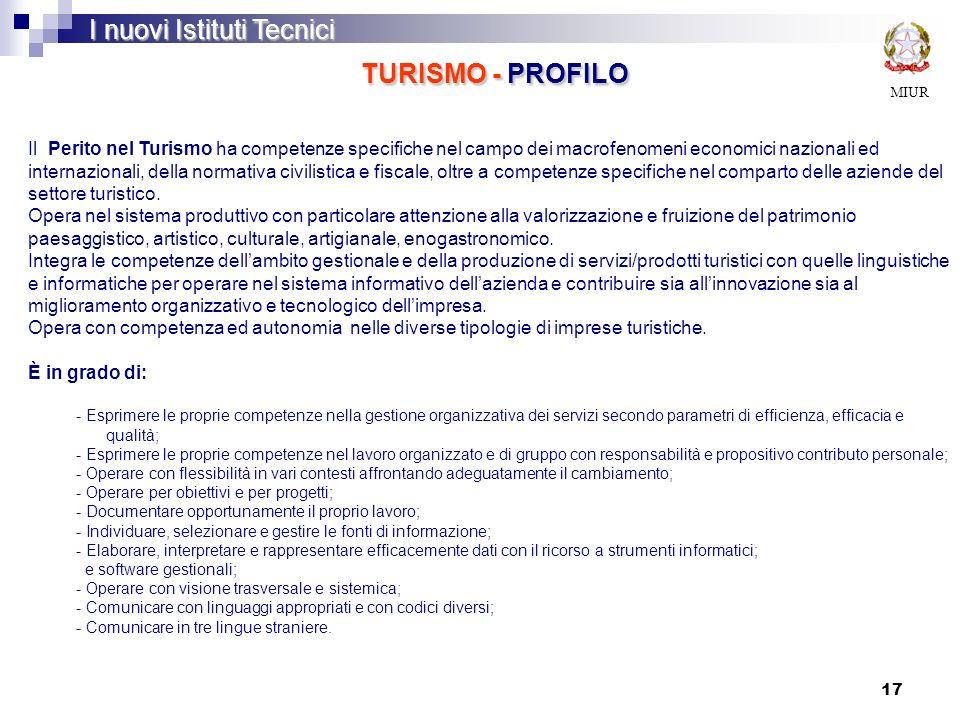 17 MIUR I nuovi Istituti Tecnici TURISMO - PROFILO Il Perito nel Turismo ha competenze specifiche nel campo dei macrofenomeni economici nazionali ed i