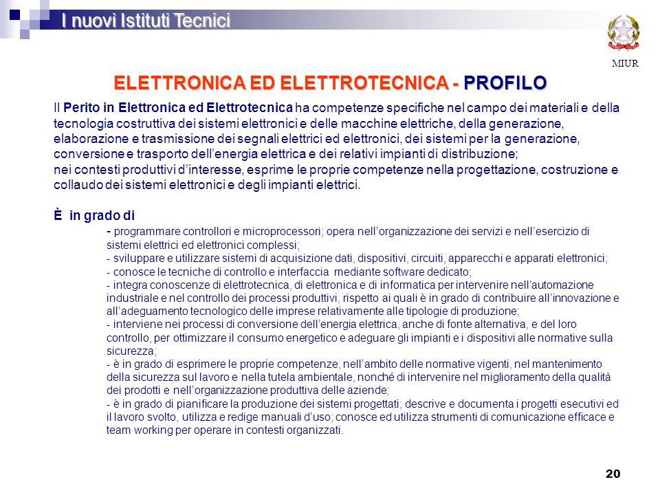20 ELETTRONICA ED ELETTROTECNICA - PROFILO MIUR I nuovi Istituti Tecnici Il Perito in Elettronica ed Elettrotecnica ha competenze specifiche nel campo