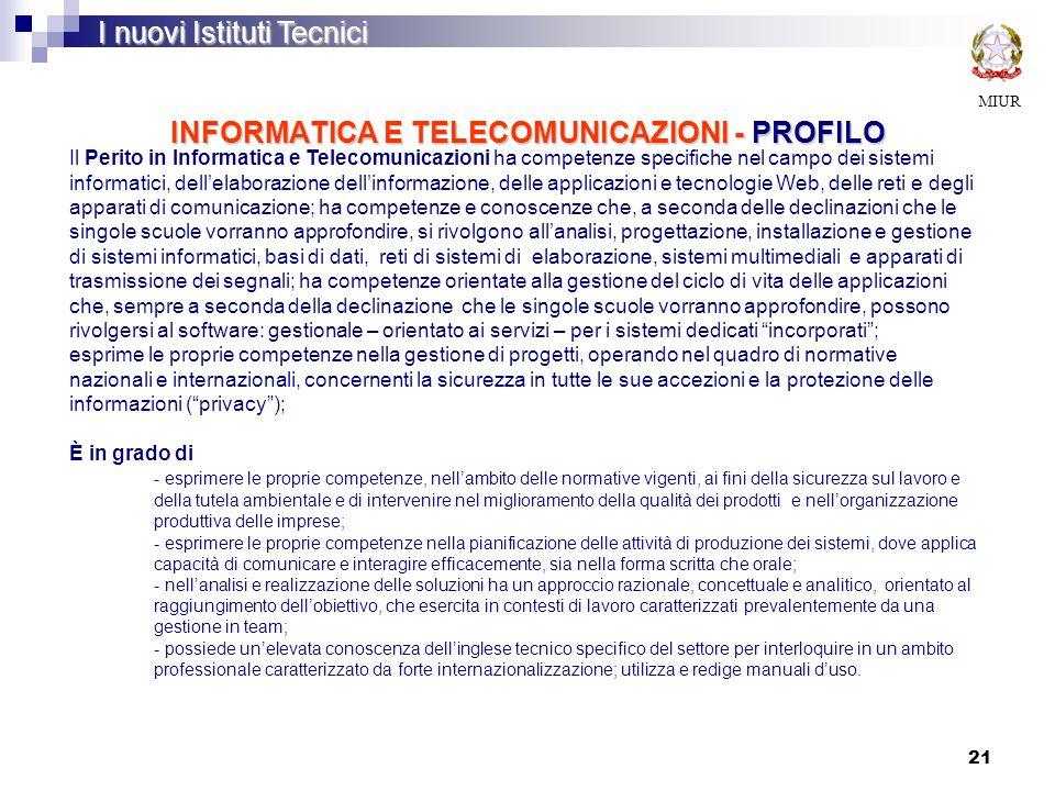 21 INFORMATICA E TELECOMUNICAZIONI - PROFILO MIUR I nuovi Istituti Tecnici Il Perito in Informatica e Telecomunicazioni ha competenze specifiche nel c