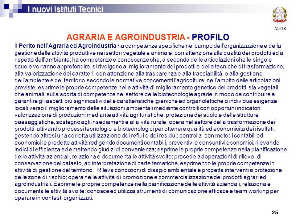 25 PROFILO AGRARIA E AGROINDUSTRIA - PROFILO MIUR I nuovi Istituti Tecnici Il Perito nellAgraria ed Agroindustria ha competenze specifiche nel campo d