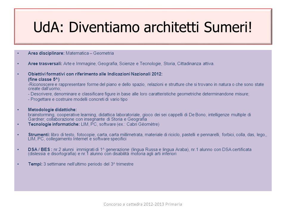 UdA: Diventiamo architetti Sumeri! Area disciplinare: Matematica – Geometria Aree trasversali: Arte e Immagine, Geografia, Scienze e Tecnologie, Stori