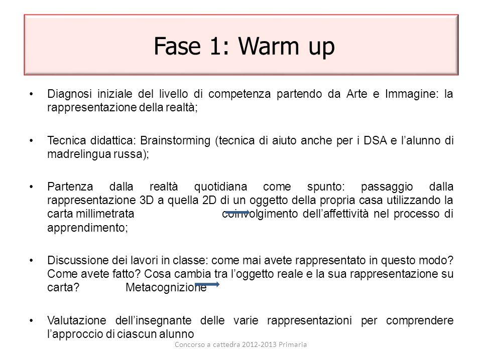 Fase 1: Warm up Diagnosi iniziale del livello di competenza partendo da Arte e Immagine: la rappresentazione della realtà; Tecnica didattica: Brainsto