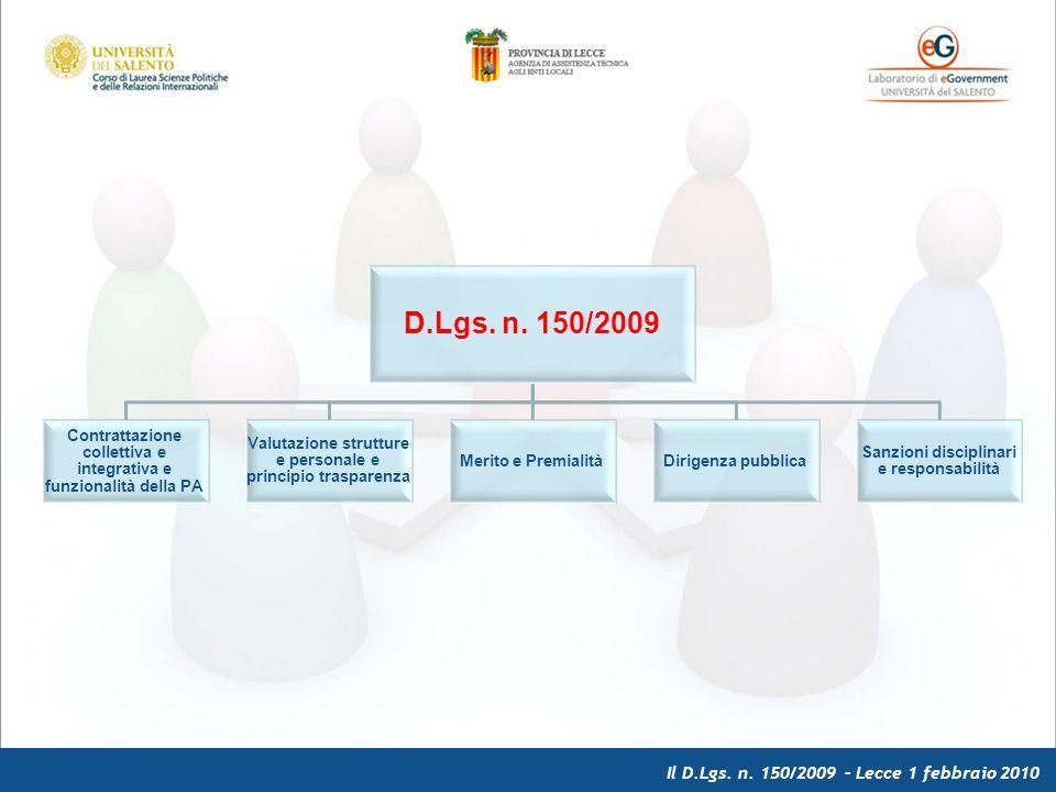 Il D.Lgs. n. 150/2009 – Lecce 1 febbraio 2010 D.Lgs.