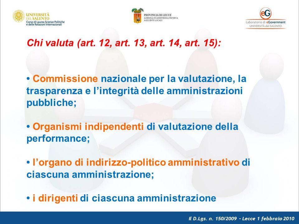 Il D.Lgs. n. 150/2009 – Lecce 1 febbraio 2010 Chi valuta (art.