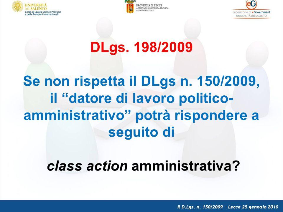 Il D.Lgs. n. 150/2009 – Lecce 25 gennaio 2010 DLgs.