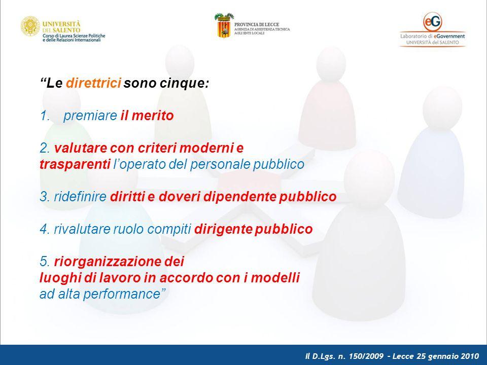 Il D.Lgs. n. 150/2009 – Lecce 25 gennaio 2010 Le direttrici sono cinque: 1.premiare il merito 2.