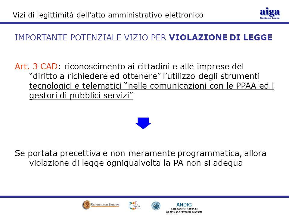 ANDIG Associazione Nazionale Docenti di Informatica Giuridica Vizi di legittimità dellatto amministrativo elettronico IMPORTANTE POTENZIALE VIZIO PER VIOLAZIONE DI LEGGE Art.