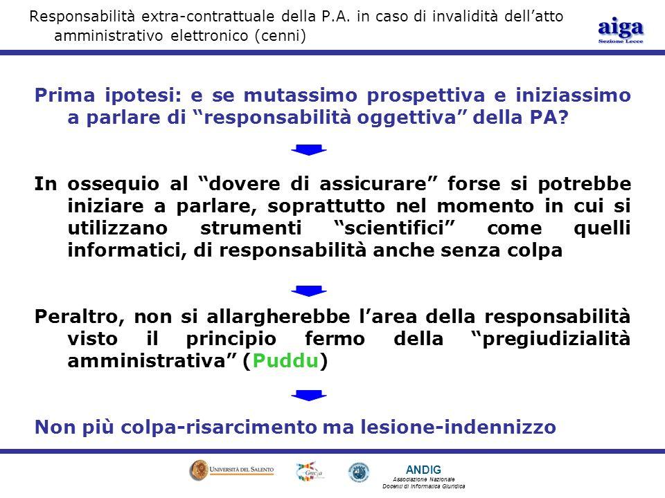 ANDIG Associazione Nazionale Docenti di Informatica Giuridica Responsabilità extra-contrattuale della P.A.