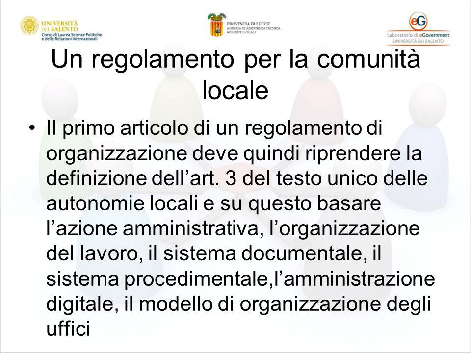 Un regolamento per la comunità locale Il primo articolo di un regolamento di organizzazione deve quindi riprendere la definizione dellart. 3 del testo