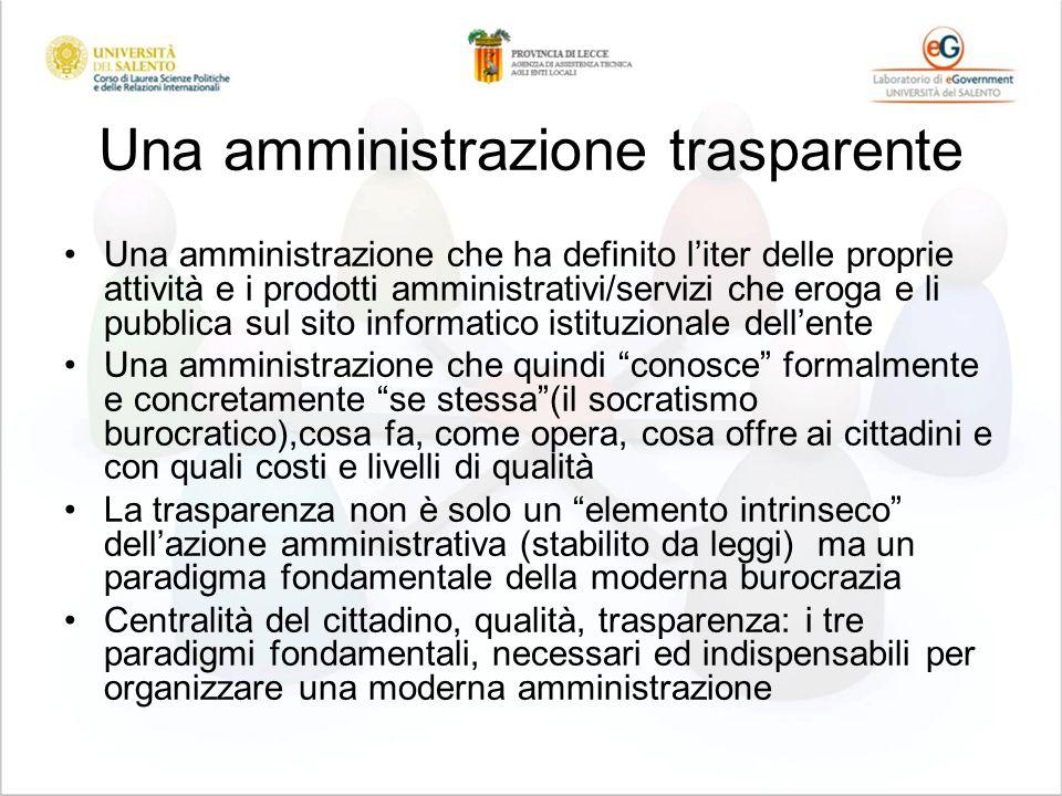 Una amministrazione trasparente Una amministrazione che ha definito liter delle proprie attività e i prodotti amministrativi/servizi che eroga e li pu