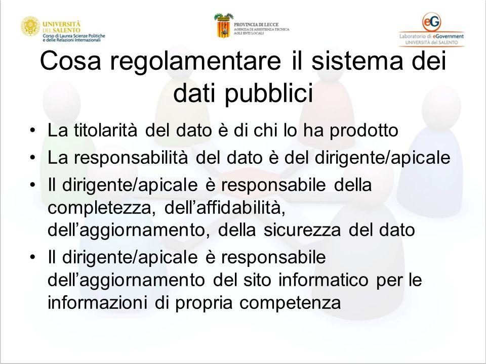 Cosa regolamentare il sistema dei dati pubblici La titolarità del dato è di chi lo ha prodotto La responsabilità del dato è del dirigente/apicale Il d