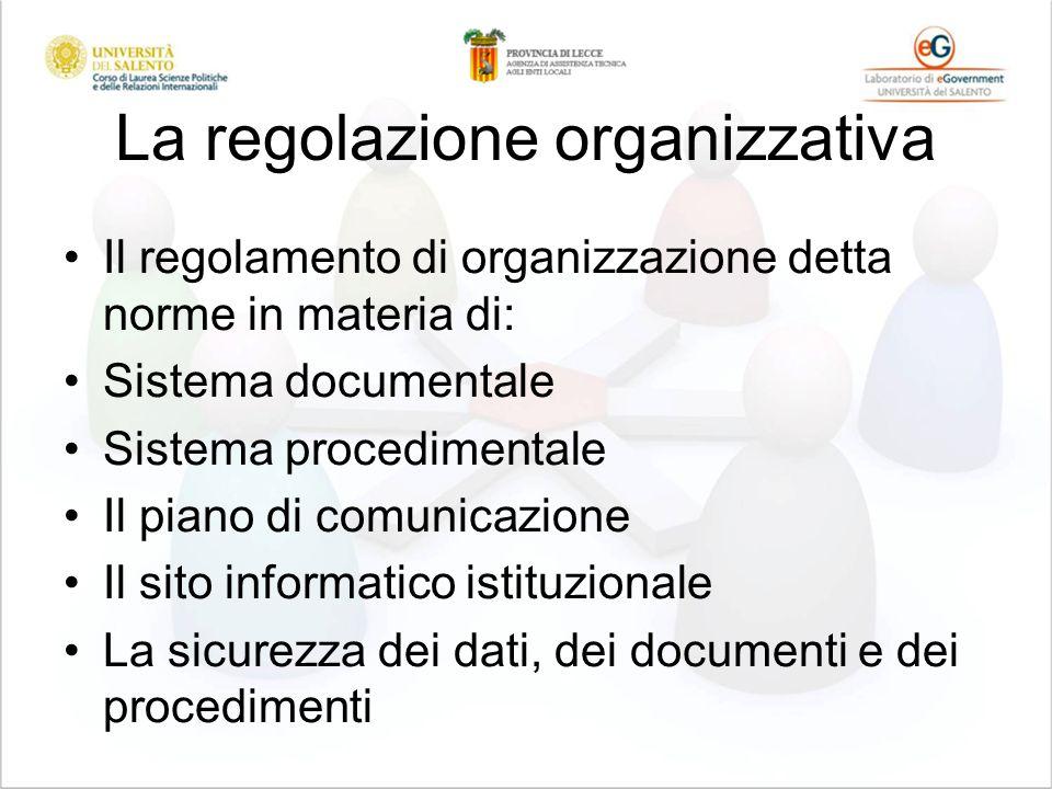 La regolazione organizzativa Il regolamento di organizzazione detta norme in materia di: Sistema documentale Sistema procedimentale Il piano di comunicazione Il sito informatico istituzionale La sicurezza dei dati, dei documenti e dei procedimenti