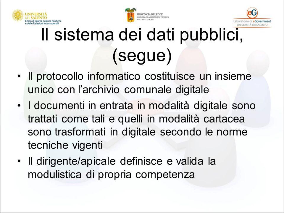 Il sistema dei dati pubblici, (segue) Il protocollo informatico costituisce un insieme unico con larchivio comunale digitale I documenti in entrata in