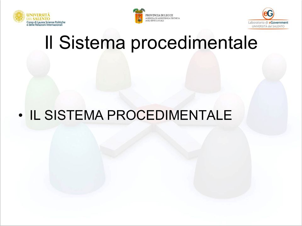 Il Sistema procedimentale IL SISTEMA PROCEDIMENTALE