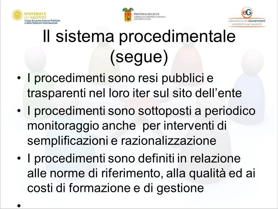 Il sistema procedimentale (segue) I procedimenti sono resi pubblici e trasparenti nel loro iter sul sito dellente I procedimenti sono sottoposti a per
