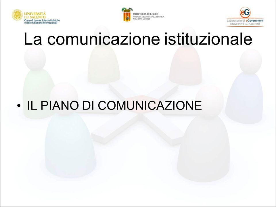 La comunicazione istituzionale IL PIANO DI COMUNICAZIONE