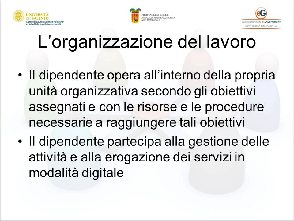Lorganizzazione del lavoro Il dipendente opera allinterno della propria unità organizzativa secondo gli obiettivi assegnati e con le risorse e le proc