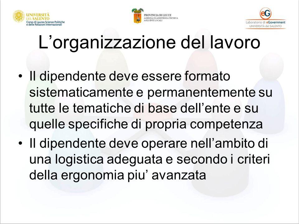 Lorganizzazione del lavoro Il dipendente deve essere formato sistematicamente e permanentemente su tutte le tematiche di base dellente e su quelle specifiche di propria competenza Il dipendente deve operare nellambito di una logistica adeguata e secondo i criteri della ergonomia piu avanzata