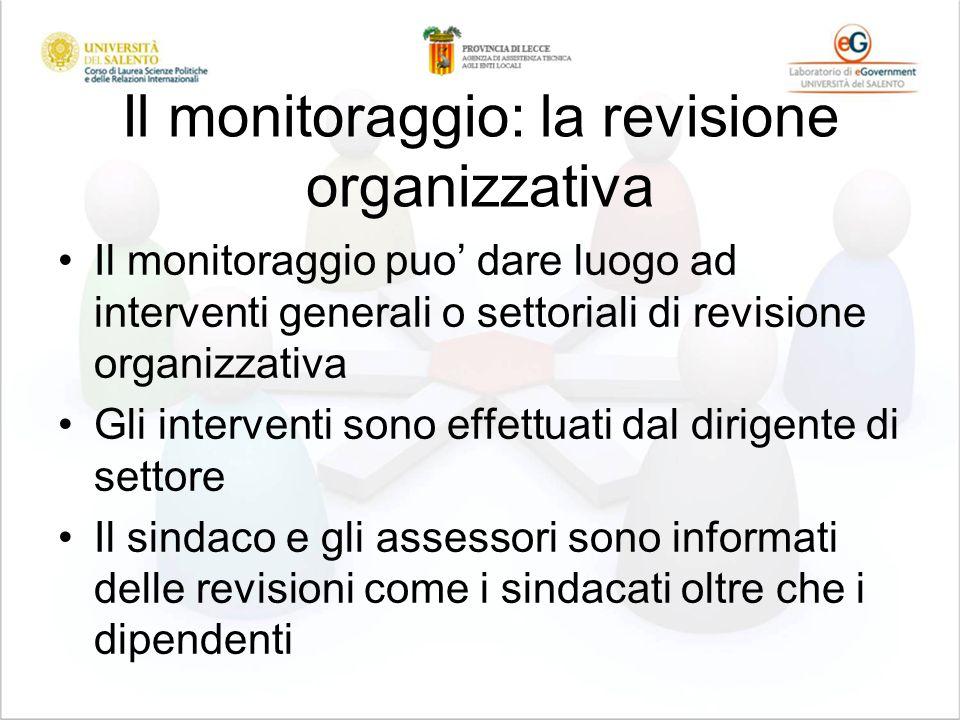 Il monitoraggio: la revisione organizzativa Il monitoraggio puo dare luogo ad interventi generali o settoriali di revisione organizzativa Gli interven